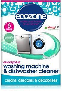 Ecozone Washing Machine & Dishwasher Cleaner Eucalyptus - 6 Tablets UK Stock