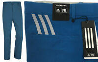 Adidas Ultimate 3 Stripe Performance Golf Trousers RRP£50 Tapered Fit Core Blue