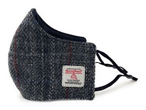 Harris Tweed Made In Scotland Grey Check Face Mask Unisex Adjustable