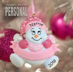 Personalised 1st Christmas Decoration - Baby Girl & Baby Boy - Snow Baby