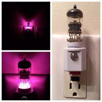 12AX7 Style Vacuum Tube Fuchsia LED Night Light Ham Radio TV Guitar Amplifier
