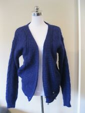 VINTAGE 80s 90s BRIGHT DARK BLUE MOHAIR WOOL CARDIGAN AU 6 8
