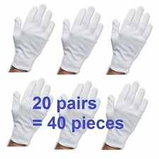 WHITE WORK JEWELLERY HANDLING COSTUME COTTON SOFT GLOVES GYM 20 PAIRS 40 PCS