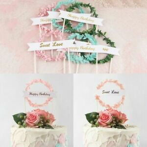 5Pcs Paper Leaf Happy-Birthday Cake Toppers Baking Card Party Cake Dessert Decor