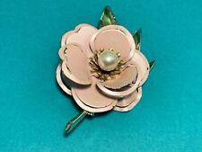 🌸 Vintage Ladies Gold Tone Pink Flower Pearl Green Leaf  Pin Brooch 🌸