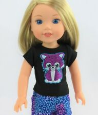 """Doll Clothes AG 14 1/2"""" Shorts Teal Leopard Top Black Kitty Fits AG 141/2"""" Dolls"""