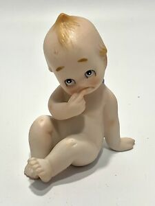 """Bisque Kewpie Doll with Finger in Mouth Thinking Blue Winged 3 1/4"""""""