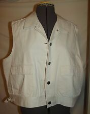 Fisherman's type vest 100% cotton ivory white heavy duty construction XL 48""