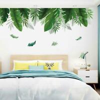 Summer Green Leaf Wall Sticker Background Living Room Art Decals Home DIY n T5J3