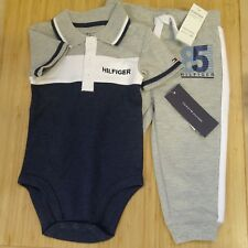 TOMMY HILFIGER BABY GROW POLO SHIRT JOGGERS BLUE GREY 12 MONTHS BOYS TAGS NEW #2