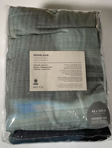 "West Elm Curtains Set of 2 Seaglass 100% Cotton Hidden Tab 48"" x 108"" New"