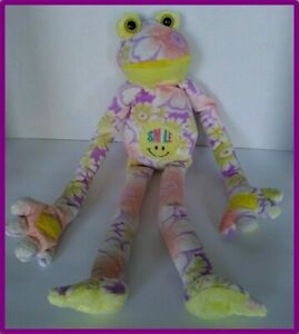"""Flower Pastel Frog Soft Toy Smile Hanging Sticky Hands Purple Yellow Peach 18"""""""