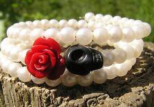 Day of the Dead Bracelet Sugar Skull Mini red Rose Black Skull memory wire frida