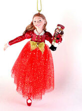 Nutcracker Ballet Clara in Red Dress Resin Christmas Ornament NEW L22