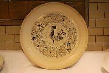 "Tin Vintage Mid Century Modern Rooster Platter Black Gold 19"""