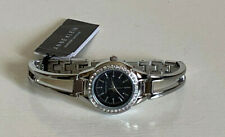 NEW! ANNE KLEIN SWAROVSKI CRYSTALS BLACK DIAL SILVER BANGLE BRACELET WATCH $75
