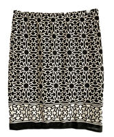 Max Studio Womens M Pencil Geometric Mini Skirt Black White Style 4706G16