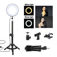 "6"" Mini LED Ring Light Dimmable with Tripod Stand&Phone Holder Kit For Video"