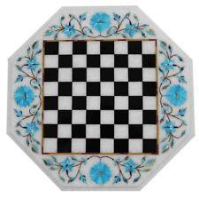 Chess Game Table Top turquoise Inlay Handmade Semi Precious Stones Work