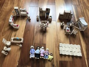 Wooden Dolls House Figures And Wooden Furniture Bundle