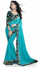 Bollywood Latest design Sky Blue Color Georgette Saree With Blouse