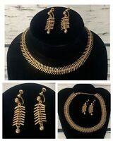 2pc Vintage Necklace & Earrings Set Screw Back 12k Yellow Gold Filled GF Signed