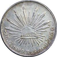 Mexico 8 Reales Go 1894 R.S. Guanajuato, KM# 377.8 (SKU3)