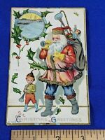 Early Santa Claus St Nick Postcard 1900s Xmas Greetings Toys Horn Musical Inst