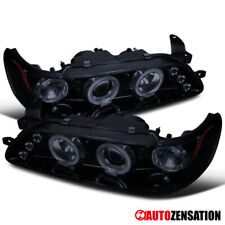 For 93-97 Toyota Corolla Glossy Black Smoke LED Halo Rims Projector Headlights