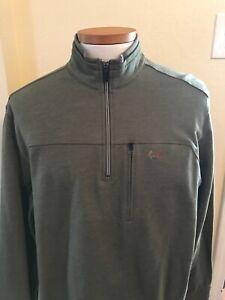 Greg Norman Tasso Elba Mens Sweatshirt Pullover Golf Shark 1/4 Zip Green Sz XL