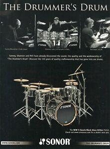2010 Print Ad Sonor S Classix Black Gloss Glitter Drums w Phil Rudd Shannon Leto