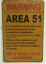Warning Area 51 Wartime Vintage Retro Metal Sign Plaque Home Garage Studio Pub