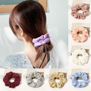 Women Lace Hair Scrunchies Elastic Hairband Barrettes Double Layers Hair Circles