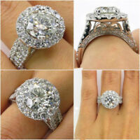 Lady Fashion Jewelry Crystal Gem Rings Engagement Love Couple Rings Size 6-10