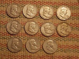 11 Franklin Half Dollars  90% silver