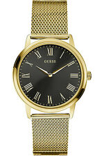 GUESS W0406G6,Men's Dress,Stainless Steel,Gold-Tone,Black Dial,WR