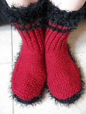 Hand knitted cozy and warm slippers/socks/booties, red with black
