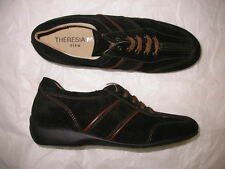 Theresia M. Gwen Black Suede Laced Shoe 6.5 M