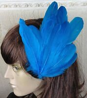 turquoise feather fascinator millinery hair clip wedding piece ascot race dance