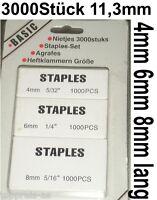 3000 TACKERKLAMMERN HART TACKERNADELN HEFTKLAMMERN STAPLES 4 6 8mm 5/16 1/4 5/32