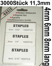3000 TACKERKLAMMERN HART TACKERNADELN HEFTKLAMMERN STAPLES 4 6 8mm 5/16 1/4 5/32