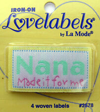 NANA MADE IT Woven Labels (Qty-4) Iron-On/Sew-In