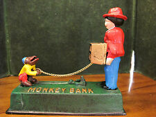 Antique Reproduction Cast Iron Monkey Grinder Mechanical Coin Bank