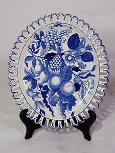 18th C English Staffordshire Pearlware Creamware Blue White Tray Plate Fruit
