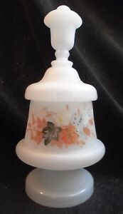 Vintage Bristol Glass Hand Painted Opaline Jar Floral Design 8 1/2 Inches Tall
