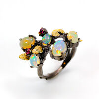 Natural Opal 925 Sterling Silver Ring Size 7.25/RF18-0038