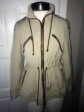 Zara Basic Women's Beige Brown Military Inspired Jacket Coat Size Medium M Lined