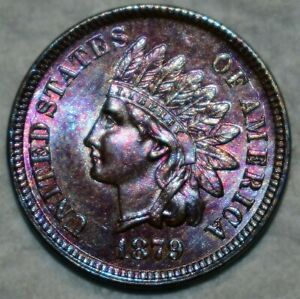 Brilliant Uncirculated 1879 Indian Head Cent, Beautifully toned specimen
