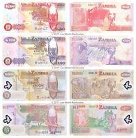 Zambia 50 + 100 + 500 + 1000 Kwacha Set of 4 Banknotes 4 PCS UNC