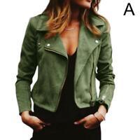 Damen Wildleder Lederjacke Flight Coat Zip Up Biker Nett Heiß Freizeitkleid S2R8